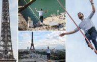 பிரான்ஸின் ஐபல் கோபுரத்திலிருந்து 600 மீற்றர் தூரம் கயிற்றில் நடந்து சாகசம்